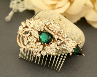 Wedding hair accessories,Emerald color Wedding hair comb,Bridal hair clip,Wedding headpiece,Bridal hair comb,Wedding hair piece,Bridal comb