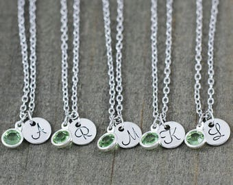 Bridesmaid Jewelry - Personalized Initial Necklace - Bridal Party Gifts - Bridesmaid Necklace Set of 5 - Crystal Necklace - Dainty Jewelry