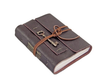Brown Leather Journal with Skeleton Key Bookmark - Ready to Ship -
