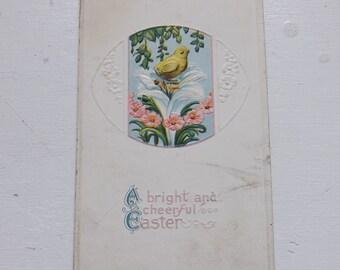 Antique Easter postcard Easter chick on Easter lily floral post card vintage ephemera