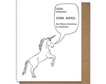 Merry Christmas Card Funny Unicorn Letterpress Sarcastic Snarky Witty