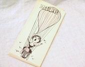 1950s NOS Hot Air Balloon Romantic Card with Envelope