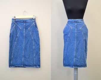 1980s Say Brazil Cotton Denim Skirt