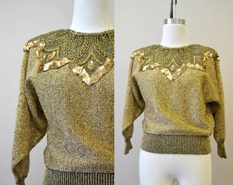 1980s Lilly of California Beaded Gold Sweater