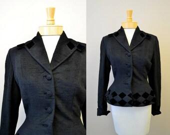 1950s Lilli Ann Black Diamonds Jacket