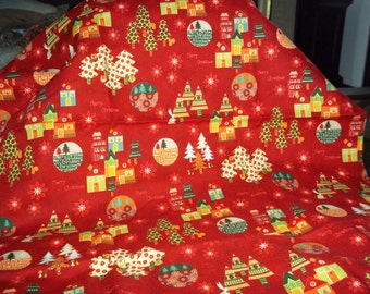 1 yard red Christmas fabric  Enchanted Forest by M'Liss