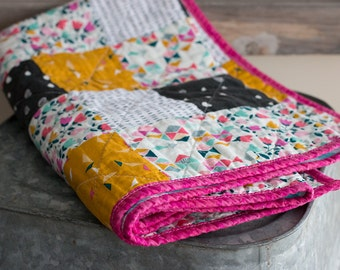 SALE!! Modern baby quilt - floral & geometrics - one of a kind