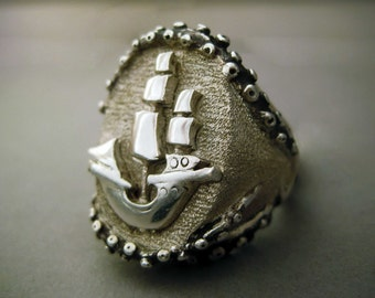 Ship and Octopus signet ring