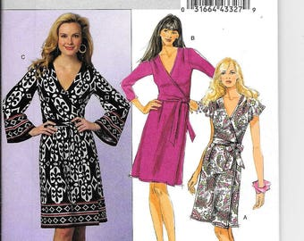 Butterick B5454 Vintage 80's Style Wrap Around Dress Sewing Pattern UNCUT Plus Size 16, 18, 20, 22, 24