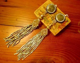 """Mega 6 1/2"""" Long SILVER PYRITE Foci Encrusted w/Rhinestones w/Silver & Gold Pyrite Beaded TASSEL Pierced Dangle/Drop Earrings"""