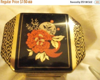 Beautiful Black, Gold and Red Vintage Octagonal Asian Tin With Hinged Lid
