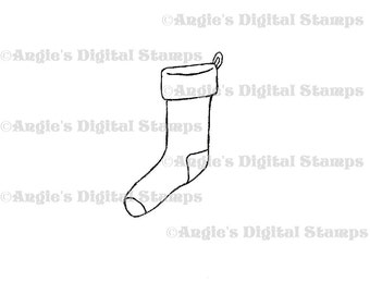 Christmas Stocking Digital Stamp Image