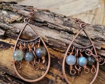 Copper labradorite bead earrings