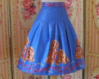 1950s Novelty Dog Print Skirt / Cocker Spaniel Print Border / Full Skirt / Glazed Cotton / 29 30 Waist