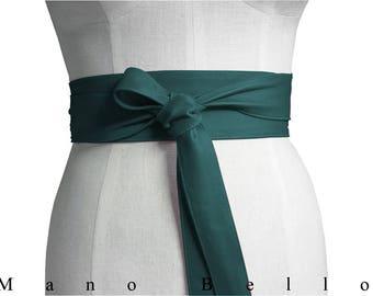 Teal leather obi belt - Leather Wrap Belt - Soft Leather Tie Belt - Womens Leather Belts - Leather Obi Belt - Wide Leather Belt - Coat belt