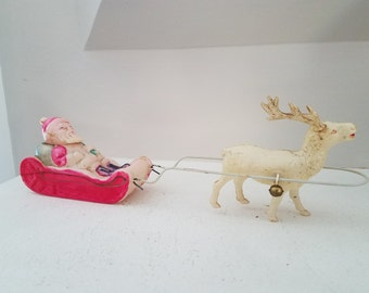 Vintage Celluloid Santa, Sleigh, and Reindeer