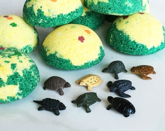 6 TURTLE BOMBS! Baby Turtle Egg Bath Fizzy Bath Candy Tub Time Fun! Turtle Bath Bombs - Wrapped Gift or Party Favors - Science Easter Fun!