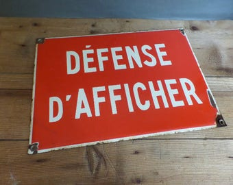 Vintage french large red enamel street sign Defense d'Afficher