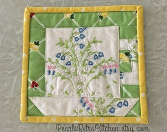 Retro Tea Cup Mug Rug made with Vintage Linen[