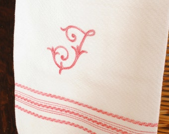 French monogram F towel- Red and white