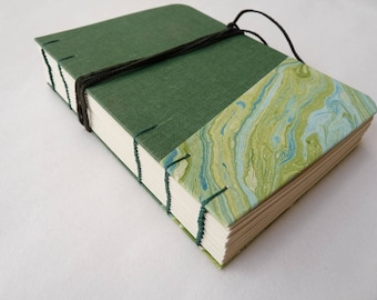 Journal, notebook, lined, A6, rounded, green, marbled, cloth