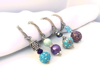 BEADED NAPKIN RINGS -  Guitar String Napkin Rings - set of 4 - aquamarine, purple, silver -  upcycled/recycled - gifts under 25 dollars