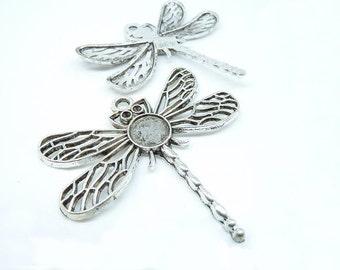 10pcs 41x45mm Antique Silver Dragonfly Charm Pendant c5566