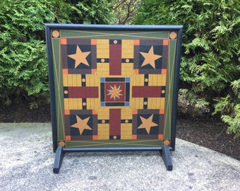 "19"", Parcheesi, Game Board, Primitive, Wood, Parcheesi Game Board, Folk Art, Game Boards"