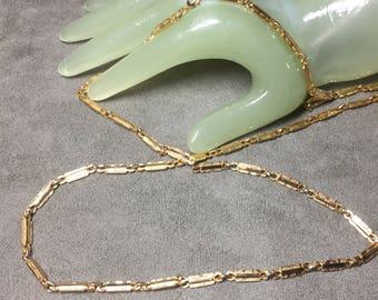 """Vintage 30"""" Long Goldtone Bar Linked Necklace"""
