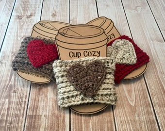 Valentine's Day Coffee Cup Cozy/Set of 3 Coffee Cup Cozies/Heart Coffee Cup Cozy/Crochet Coffee Cup Cozy- READY TO SHIP