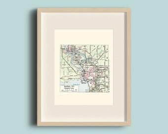 Vintage Buffalo Map Etsy - Buffalo us map