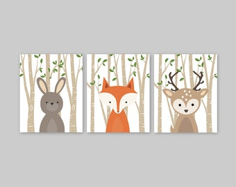Woodland Nursery Decor Set of 3 Forest Animal Prints Baby Animal Prints Bunny Rabbit Fox and Deer Print Forest Friends Wall Art Decor