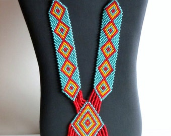 Native American necklace, Turquoise, Native American Jewelry, Beaded Necklace, Boho Necklace, Statement Necklace, Tribal Necklace