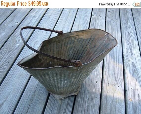 Online Antique Grey Rustic Metal Coal Bucket  Online Vintage vintage clothing, home accents, vintage dress