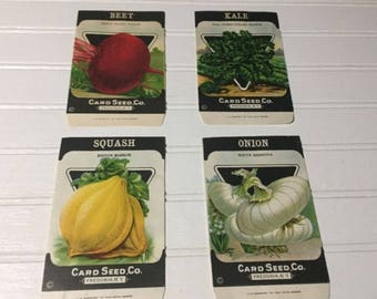 Vintage Vegetable Empty Packets Card Seed Co Fredonia New York kale squash onion beet