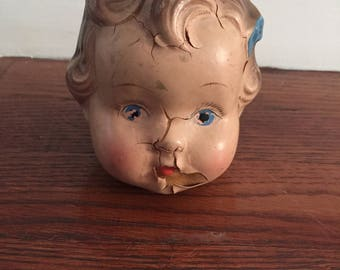 Doll head doll parts home decor blue bow chippy paint