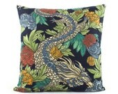 Chinoiserie Ming Dragon Pillow Cover, 18x18, 20x20, 22x22, 24x24 Euro, Double Sided, Navy Blue Throw Pillow, Accent Pillow, Robert Allen