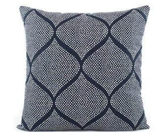Robert Allen Indigo and White Batik Pillow Cover, 18x18, 20x20, 22x22, 24x24 Euro or Lumbar, Navy Blue, Throw Pillow, Accent Pillow, Mocambo