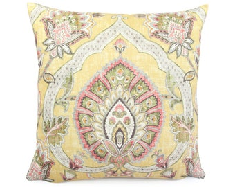Yellow Colorful Paisley Floral Pillow Cover, Colorful Ikat Cushion Sham, Custom Square / Lumbar Pink and Yellow Accent Pillow, Carina Butter