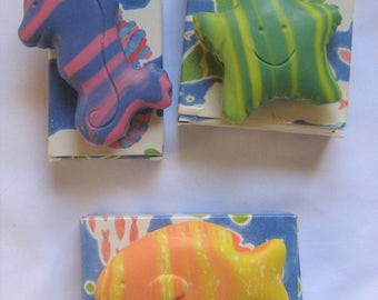 Sea Striped Soap Set of 3 Starfish, Fish & Seahorse by Avon