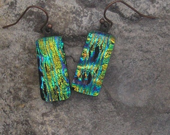 Green and Gold Earrings Fused Dichroic Glass Earrings