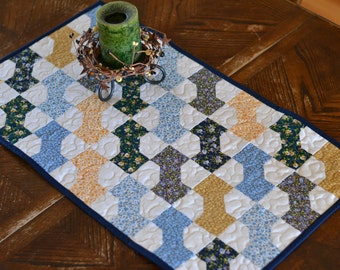 Quilted Table Runner, Bow Tie Patchwork, Little House on the Prairie Fabric, floral calico blue yellow