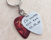 Personalized Guitar Pick Keychain with Spare Fender Pick