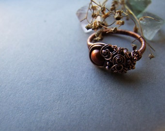Brown Pearl Ring, Freshwater Golden Ring, Elvish Brown Ring, Bohemian, Elvish Pearl Ring