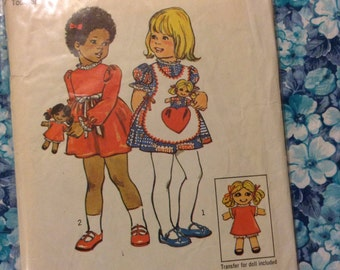 Simplicity 6684 Dress, Pinafore, and Doll Sewing Pattern Size 4 Girls