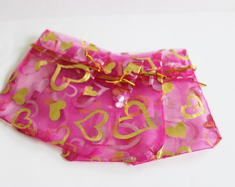 """Pink and Gold Organza Bags Heart Print 2 3/4"""" x 3.5"""" Small Favor Bags 20+ Weddings / Party Favors / Jewelry Bags / Trade Shows"""
