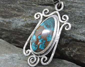 Teardrop Chrysocolla Pendant on chain, Sterling Silver Scrollwork, Teal and Brown Gemstone, Sterling Silver, Artisan Made, Handmade Pendant