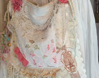 Shabby chic Purse, large linen bag, handmade Victorian cottage romantic ruffled laces, fringe, pearls, white creme pink