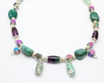 Fluorite Necklace, Rainbow Fluorite, Crystal, Semiprecious Gemstone Necklace, Gift for Her