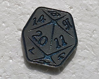 Hand Cast Pewter 20 sided die Pin - 1 inch